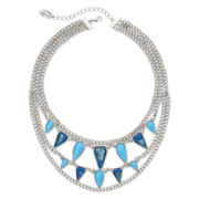 nicole by Nicole Miller® Aqua and Blue Stone Multi-Row Chain Necklace