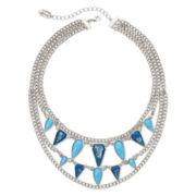 nicole by Nicole Miller® Aqua and Blue Stone Multi-Row Chain Necklace