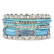 Mixit™ Aqua Stone Silver-Tone 9-pc. Bangle Set