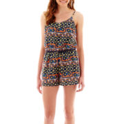 Love Reigns Sleeveless Aztec Print Three-Button Romper