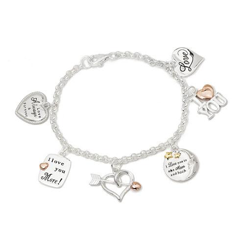 Tri-Tone Sterling Silver Love Heart Charm Bracelet