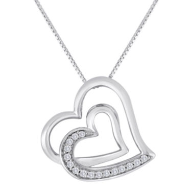 jcpenney.com | ForeverMine® 1/10 CT. T.W. Diamond Sterling Silver Double-Heart Pendant Necklace