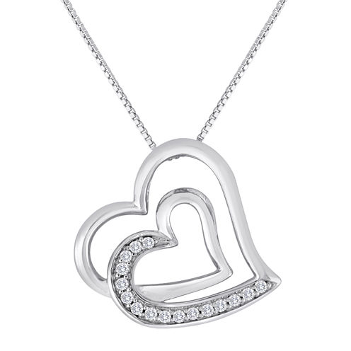 ForeverMine® 1/10 CT. T.W. Diamond Sterling Silver Double-Heart Pendant Necklace