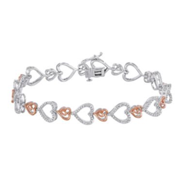 jcpenney.com | ForeverMine® 1/10 CT. T.W. Diamond Heart Two-Tone Bracelet