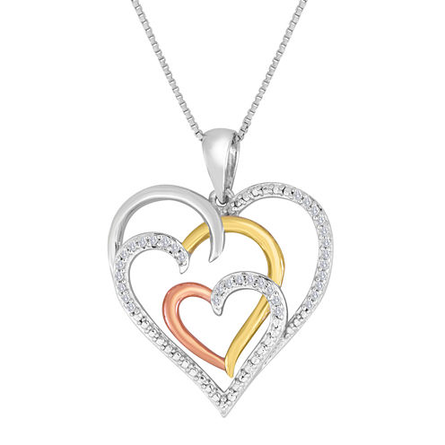 ForeverMine® 1/10 CT. T.W. Diamond Heart Tri-Tone Pendant Necklace
