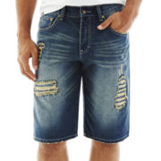 akademiks® Villi Destructed Denim Shorts
