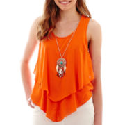 by&by Sleeveless Double-Layered Necklace Top