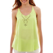 by&by Sleeveless Woven Studded Trapeze Top