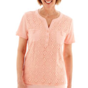 Alfred Dunner® Sunrise Point Short-Sleeve Lace-Front Top