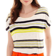 Stylus™ Short-Sleeve Striped Dolman T-Shirt- Petite