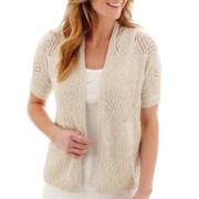 St. John's Bay® Short-Sleeve Crochet Shrug Sweater