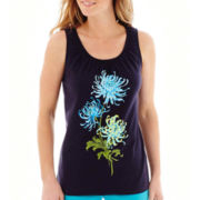 St. John's Bay® Sleeveless Smocked-Neck Top