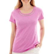 St. John's Bay® Short-Sleeve Beaded T-Shirt