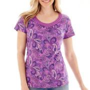 St. John's Bay® Short-Sleeve Paisley Print Scoopneck Top