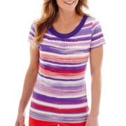 St. John's Bay® Short-Sleeve Striped Scoopneck Top