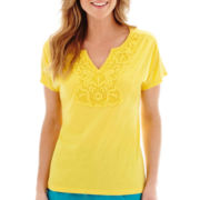 St. John's Bay® Crochet Lace-Trim Top