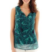 Liz Claiborne® Smocked Tie-Neck Tank Top