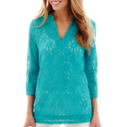 nicole by Nicole Miller® 3/4-Sleeve Lace Tunic