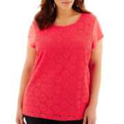 Liz Claiborne® Short-Sleeve Lace-Front Top - Plus
