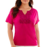 St. John's Bay® Short-Sleeve Shirred-Shoulder Crochet Lace T-Shirt - Plus