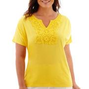 St. John's Bay® Short-Sleeve Shirred-Shoulder Crochet Lace T-Shirt - Plus