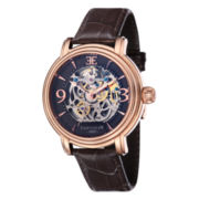 Thomas Earnshaw Men's Longcase Brown And Rose Gold Tone Leather Strap Watch