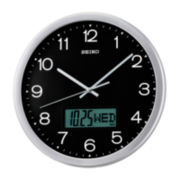 Seiko® Analog / Digital Wall Clock With Day, Date And Month Calendar Qxl007alh
