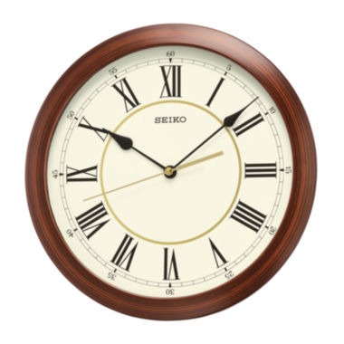 jcpenney.com | Seiko® Plastic Wall Clock with Brown Case Qxa597alh