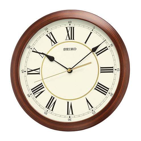 Seiko® Plastic Wall Clock with Brown Case Qxa597alh