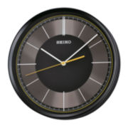 Seiko® Quiet Sweep Second Hand Wall Clock Black with Yellow Second Hand Qxa612klh