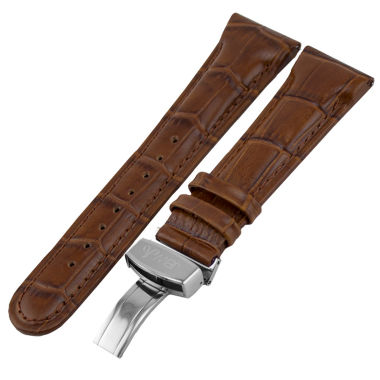 jcpenney.com | JBW Womens  Brown And Silver Tone Genuine Calfskin Leather Watch Band