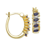Classic Treasures™ Diamond-Accent & Genuine Sapphire Brass 18mm Hoop Earrings