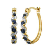 Classic Treasures™ Diamond-Accent & Genuine Sapphire Brass 25mm Hoop Earrings