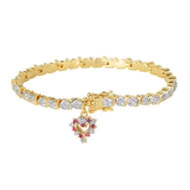 jcpenney.com | Classic Treasures™ Diamond Accent Lab-Created Ruby Heart Bracelet