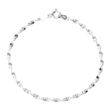 "jcpenney.com | Silver Reflections™ Sterling Silver 7"" Twist Chain Bracelet"
