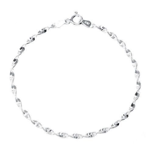 "Silver Reflections™ Sterling Silver 7"" Twist Chain Bracelet"