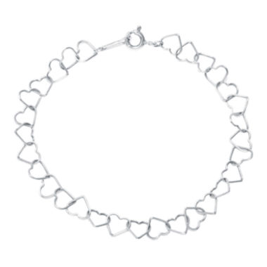 jcpenney.com | Silver Reflections™ Sterling Silver Openwork Heart Link Bracelet