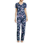 Earth Angels® Short Sleeve Button-Front Pajama Pant Set