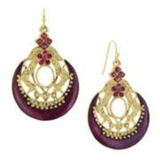 1928® Jewelry Gold-Tone Purple Earrings