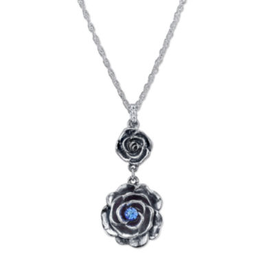 jcpenney.com | 1928® Jewelry Silver-Tone Blue Crystal Flower Pendant Drop Necklace