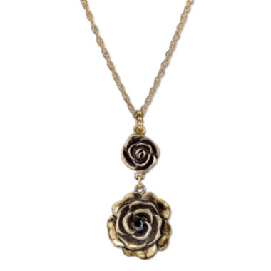 jcpenney.com | 1928® Jewelry Gold-Tone Crystal Flower Pendant Drop Necklace