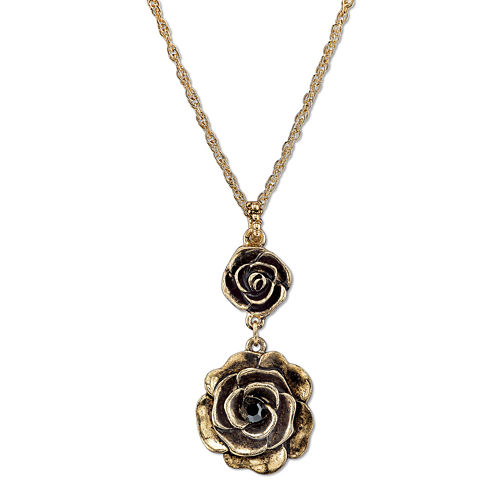 1928® Jewelry Gold-Tone Crystal Flower Pendant Drop Necklace