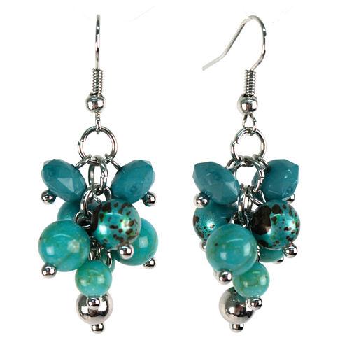 Aris by Treska Blue Silver-Tone Cluster Earrings