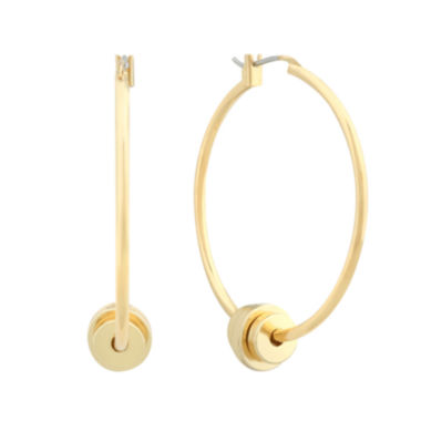 jcpenney.com | Liz Claiborne® Gold-Tone Bead Hoop Earrings