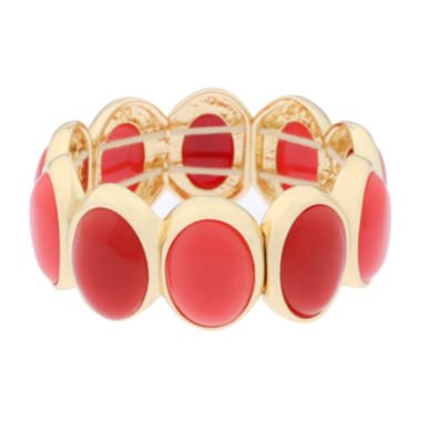 jcpenney.com | Liz Claiborne® Orange and Gold-Tone Stretch Bracelet