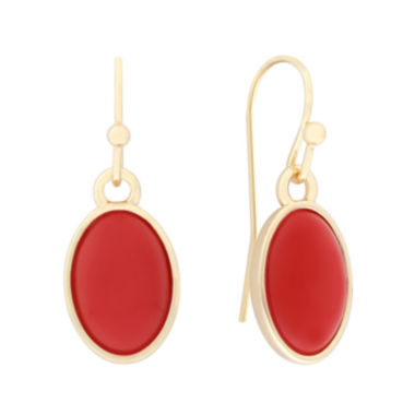 jcpenney.com | Liz Claiborne® Oval Orange and Gold-Tone Drop Earrings