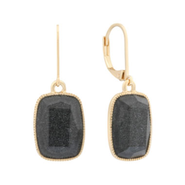 jcpenney.com | Monet® Black and Gold-Tone Drop Earrings