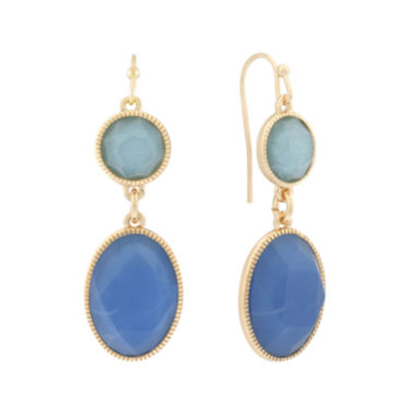 jcpenney.com | Monet® Blue and Gold-Tone Double-Drop Earrings
