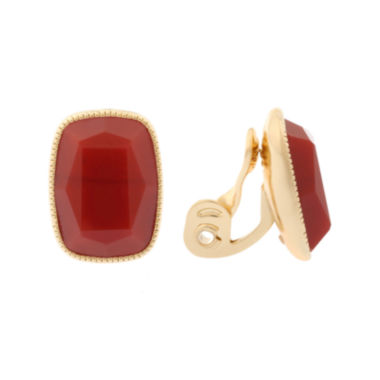 jcpenney.com | Monet® Red and Gold-Tone Button Clip-On Earrings