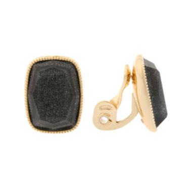jcpenney.com | Monet® Black and Gold-Tone Button Clip Earrings